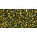 TT-01-246 Inside-Color Luster Black Diamond/Opaque Yellow Lined TOHO Treasures Seed Beads