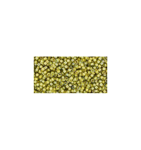 TR-15-246 Inside-Color Luster Black Diamond/Opaque Yellow Lined TOHO Seed Beads