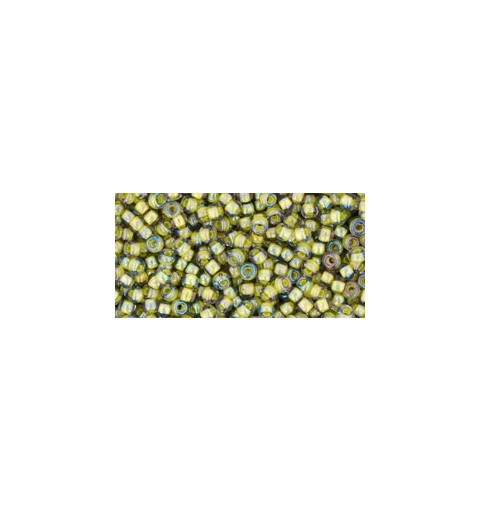TR-11-246 Inside-Color Luster Black Diamond/Opaque Yellow Lined TOHO Seed Beads