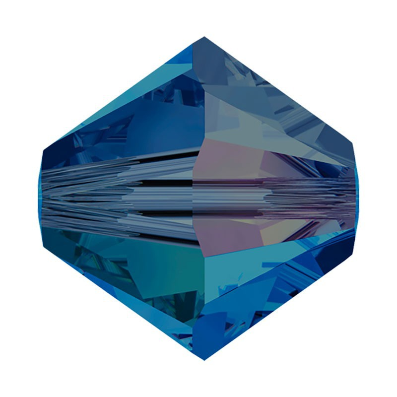 4MM Capri Blue AB2x (243 AB2) 5328 XILION Bi-Cone Beads SWAROVSKI ELEMENTS