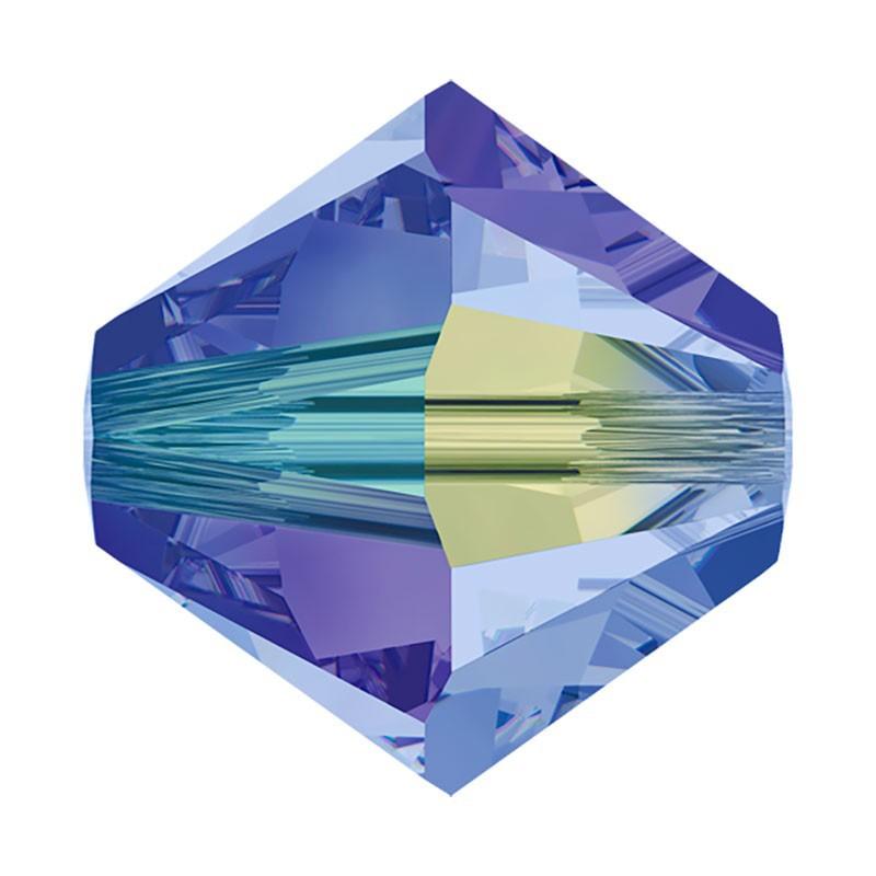4MM Light Sapphire AB2x (211 AB2) 5328 XILION Bi-Cone Beads SWAROVSKI ELEMENTS