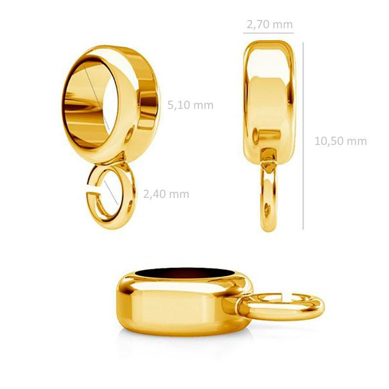 Серебряный 925 Позолоченый разделитель 10.5x5.1mm с кольцом 2.4mm