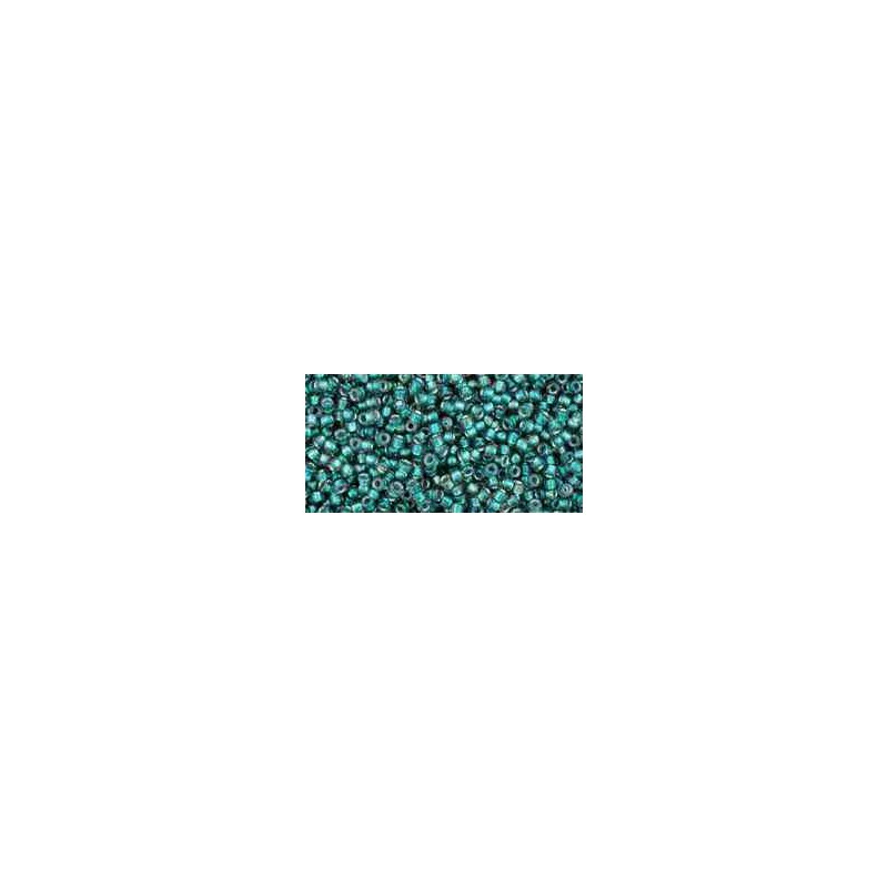 TR-15-270 Inside-Color Crystal/Metallic Teal-Lined TOHO Seed Beads