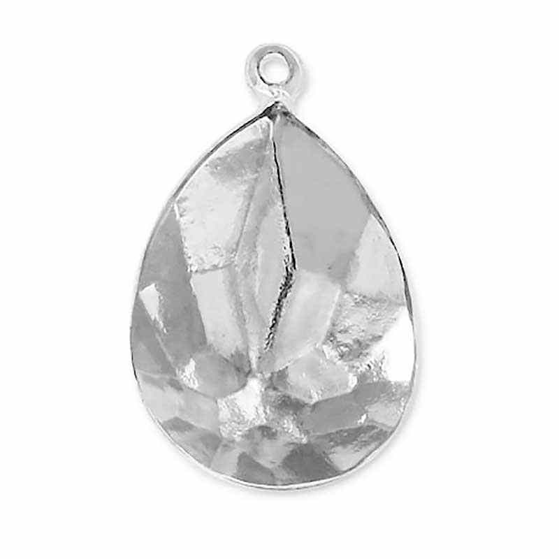 14x10mm Setting for Swarovski Pear-Shaped 4320 Rhodium colored with eye