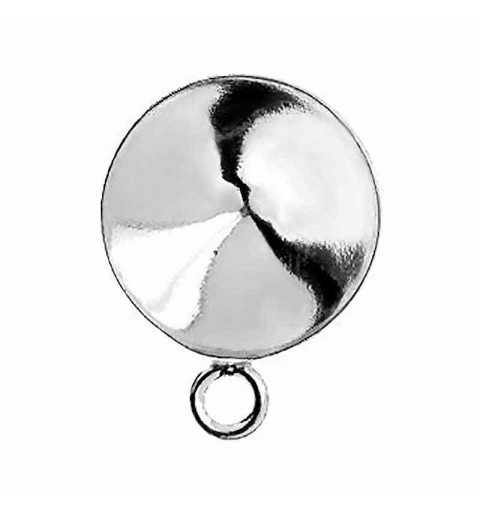 STERLING SILVER 925 EARRINGS STUD WITH CUP WITH EYE FOR RIVOLI 12MM