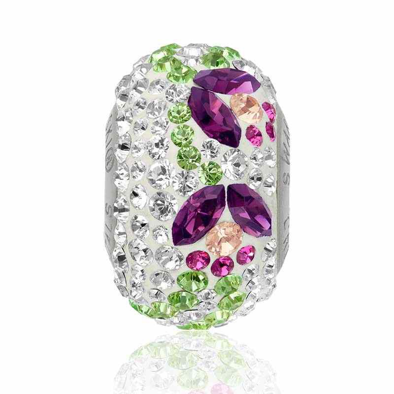 14mm BeCharmed Pavé Тюльпан 82125 Аметист (204) бусина Swarovski Elements