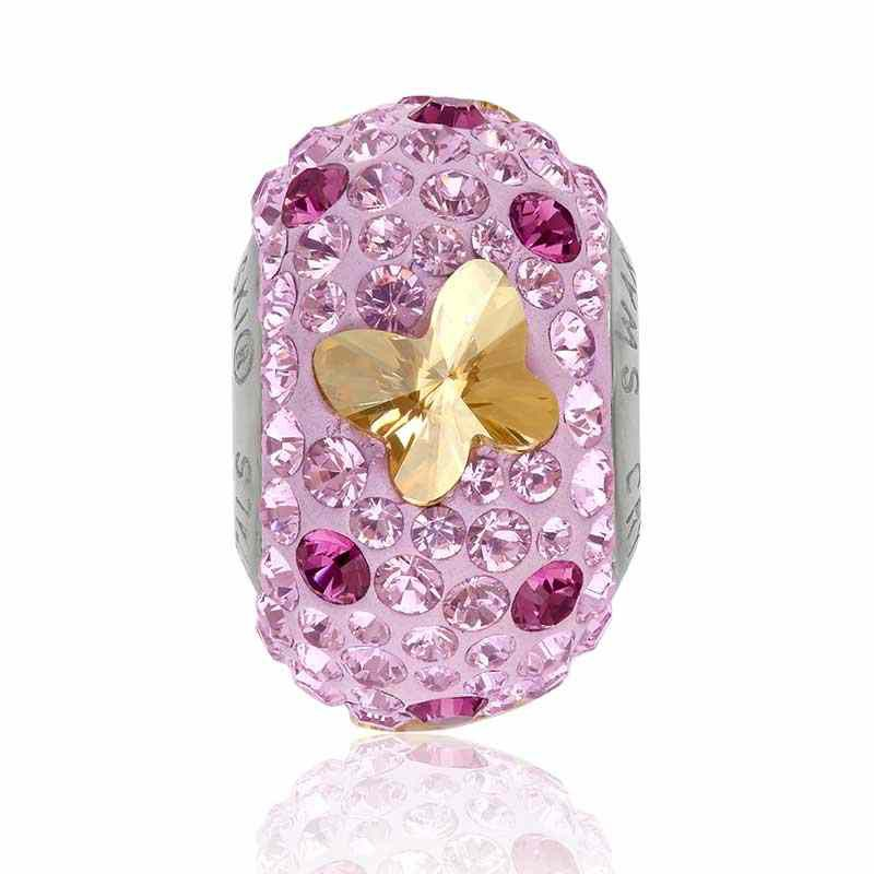 14mm BeCharmed Pavé Butterfly 82133 Golden Shadow/Mauve Bead Swarovski