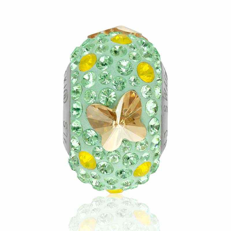 14mm BeCharmed Pavé Butterfly 82133 Golden Shadow/Mint Bead Swarovski