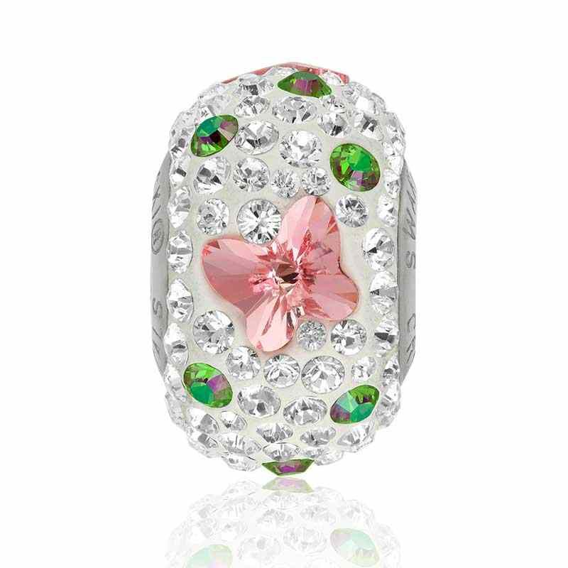 14mm BeCharmed Pavé Butterfly 82133 Light Rose (223) Bead Swarovski