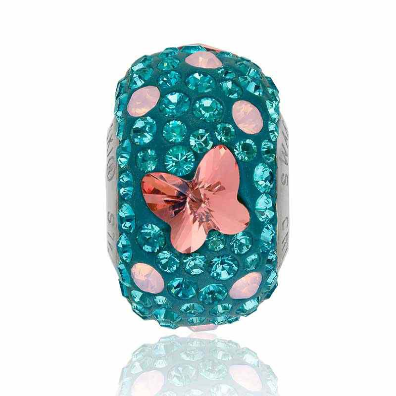 14mm BeCharmed Pavé Butterfly 82133 Rose Peach (262) Bead Swarovski