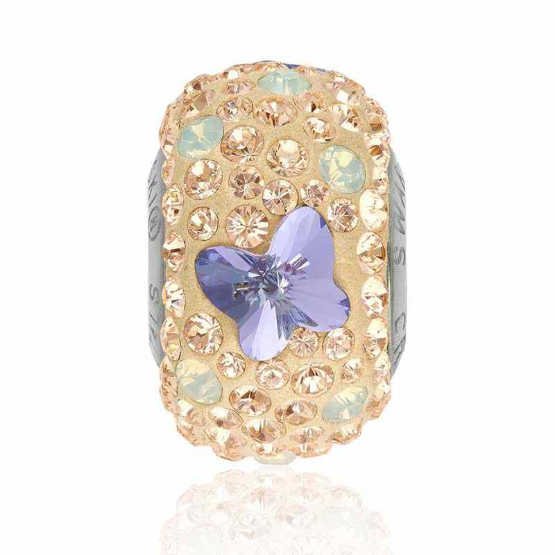 14mm BeCharmed Pavé Бабочка 82133 Provence Lavender (283) бусина Swarovski