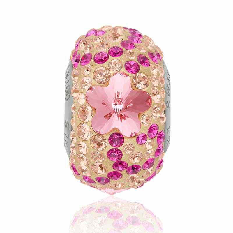 14mm BeCharmed Pavé Daisy 82143 Light Rose (223) Bead Swarovski