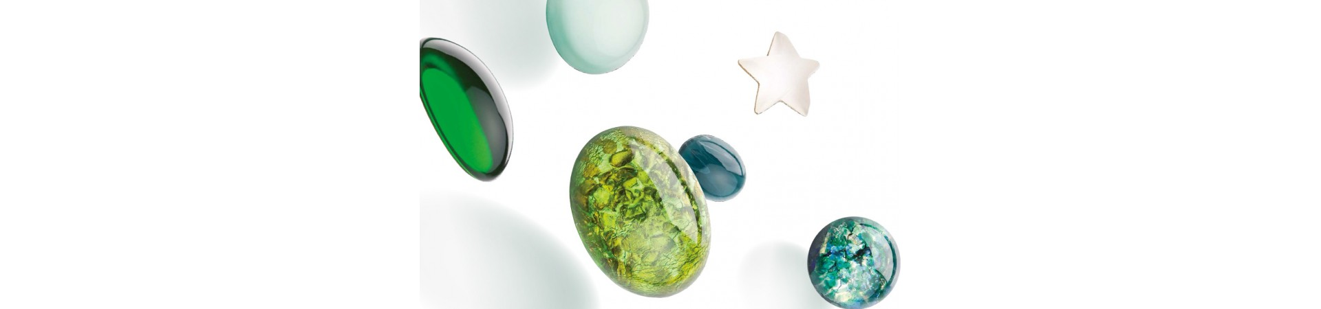 Cabochons are a special collection of stones created from hand-molded glass.