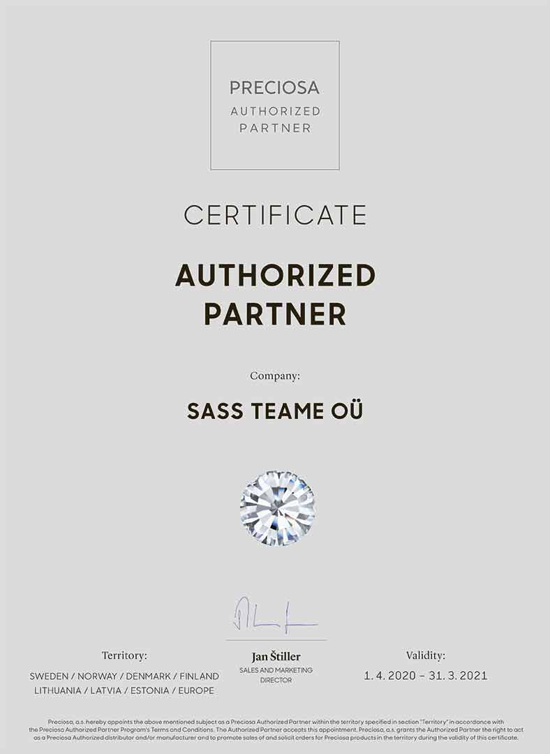 PRECIOSA AUTHORIZED PARTNER CYS Certificate