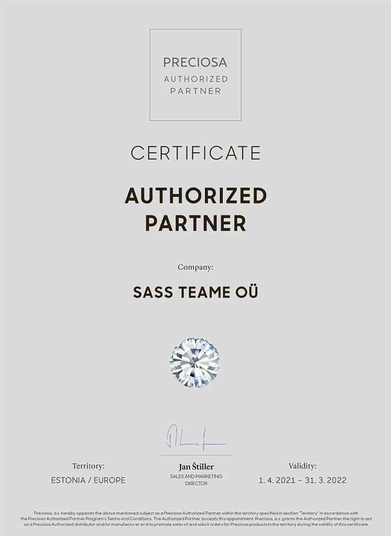 PRECIOSA AUTHORIZED PARTNERCYS Certificate